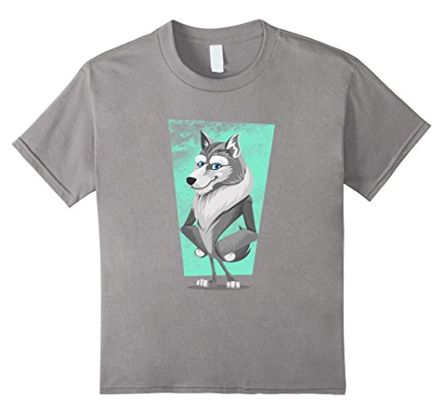 Kids Cute Wolf Shirt Wildlife Spirit Animal Emoji Stuff Gift Tee 8 Slate