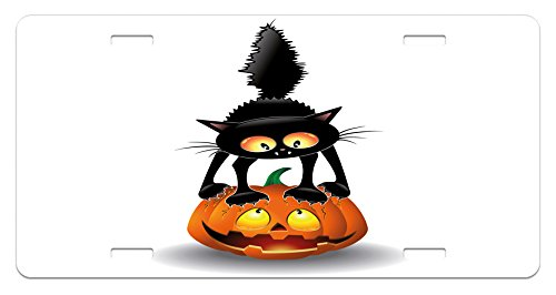 Ambesonne Halloween License Plate, Black Cat on Pumpkin Drawing Spooky Cartoon Characters Halloween Humor Art, High Gloss Aluminum Novelty Plate, 5.88 L X 11.88 W Inches, Orange -