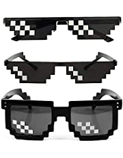 3 Pack Sunglasses Men Women Glass 8 Bit Pixel Mosaic Glasses Props Sunglass Toy Black