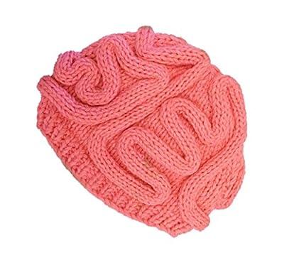 York Zhu Men Women Funny Hat Hand Knitted Personality Brain Hat Adults Crochet Cap
