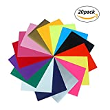 Heat Transfer Vinyl Caraok HTV Bundle Set 12'' x 10'' 20 Pack Multi-Color Sheets for Iron On Shirts Super Sturdy & Easy to Weed 100% Safe & Nontoxic for Silhouette Cameo Or Cricut - Heat Press Machine