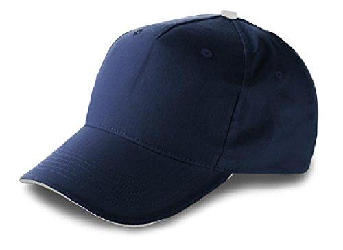 Baseball-Cap aus Baumwolle, inklusive Klettverschluss, 5 Panels Blau Baumwolle Twill 23x23, Farbe: Blau