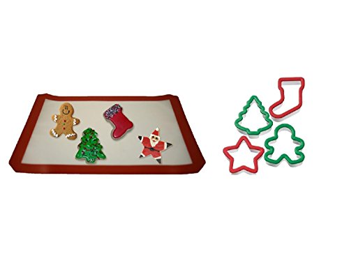 Silicone Half Sheet Baking Mat & Wilton 4 Piece Christmas Grippy Cookie Cutter Bundle Set Tree, Stocking, Star & Gingerbread Boy