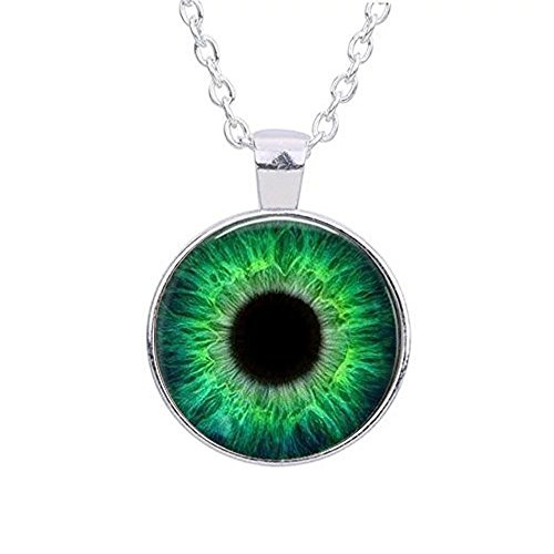 Green, Yellow, or Blue Cat Eye Glass Eyeball Sterling Silver Pendant