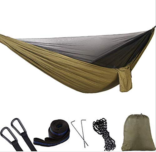 RRDF Camping Hammock with Mosquito Net - Lightweight Double Hammock, Portable Hammocks for Indoor,Outdoor, Hiking, Camping, Backpacking, Travel, Backyard, Beach (Army Green) ()