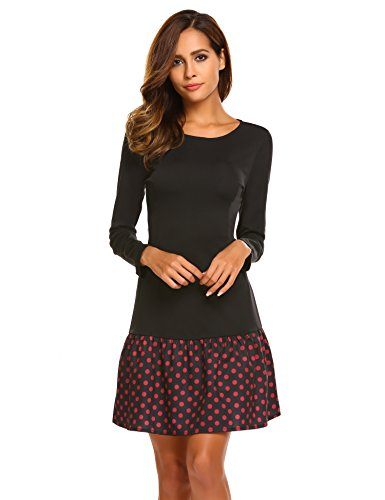 ACEVOG Women Sexy Polka Dot Ruffle Hem Trim Mini A Line Shift Dress (Black,M)