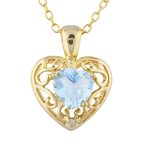 Simulated Blue Topaz & Diamond Love Design Heart Pendant 14Kt Yellow Gold Plated Over .925 Sterling Silver ()