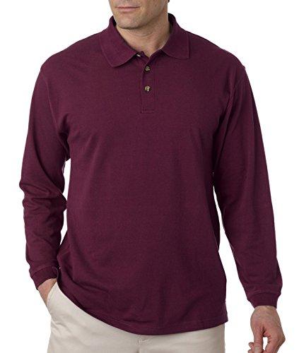 - UltraClub mens Long-Sleeve Classic Pique Polo(8532)-Burgundy-L