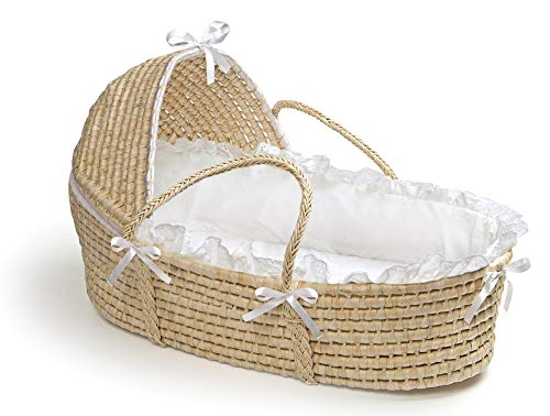 Baby Cribs Moses Baskets - Hooded Baby Moses Basket with Liner, Sheet, and Pad