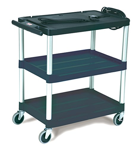 (Rubbermaid 9T28 Black Media Master AV Cart with Three Shelves)