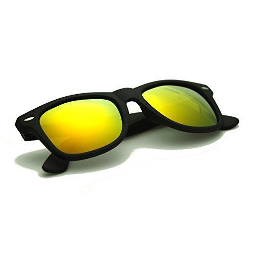 Zacway Polarized Horn Rimmed Sunglasses Color Mirror Lens Matte Finish (Black/Orange-Red, 52)