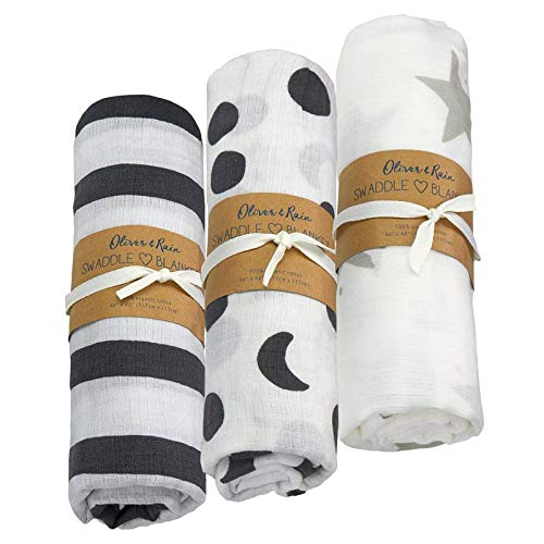 Oliver & Rain - Organic Cotton Muslin Grey & White Stripe, Grey Moon Print and Grey Star Print Swaddle Sampler, NB, 3-Pack ()