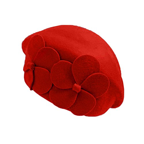 [Lujuny Women Wool Pillbox Beret Hat - Winter Spring Girls Stewardess Cap with Flowers Decoration] (Artist Costumes Halloween 2016)
