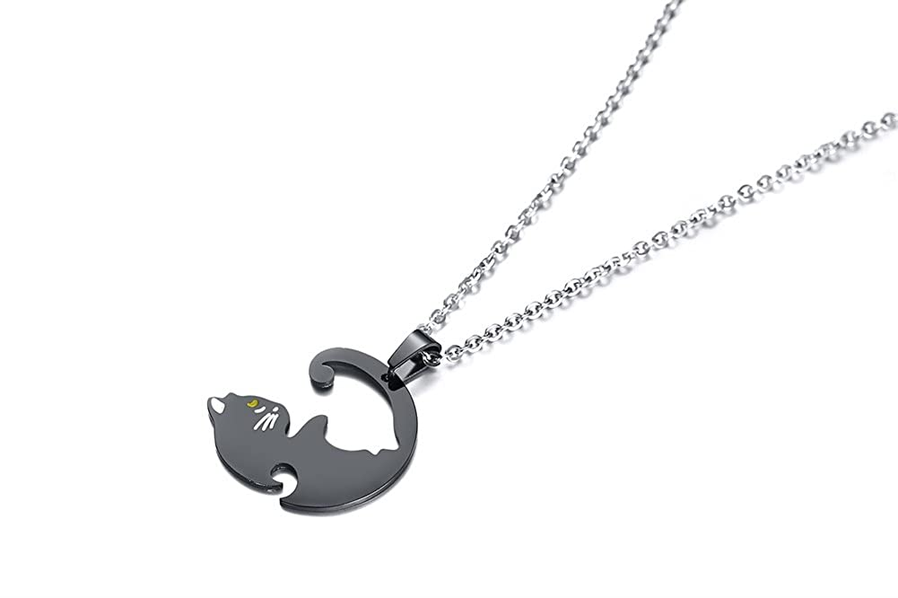 12c3dc924 Amazon.com: PJ Stainless Steel Yin Yang Pet Cat Puzzle Piece Matching Couple  Pendant Necklace, Animal Lover Gift: Jewelry