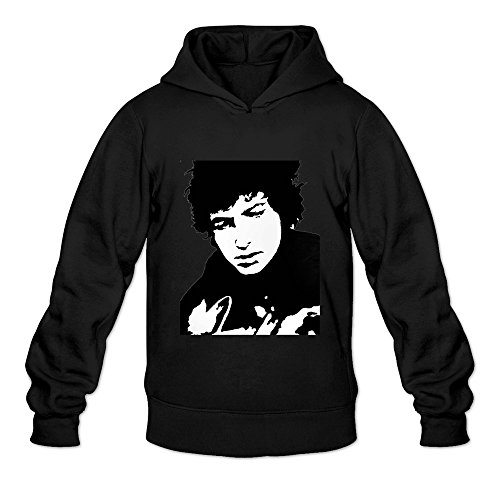 Crystal Men's Bob Dylan Long Sleeve Hooded Black US Size XXL