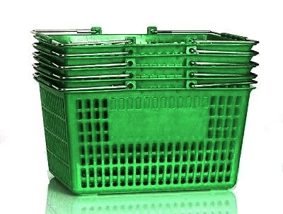 Shopping Basket (Set of 5) Durable Green Plastic with Metal Handles by Only Hangers