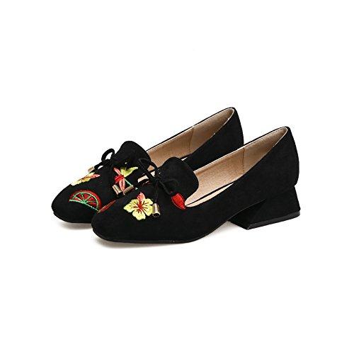fiore Qiqi alto alto farfalla Xue pelle con Scarpette suede tacco Scarpe tacco ricamo in tacco testa femminile nero 39 alto OSxdgqxAwX