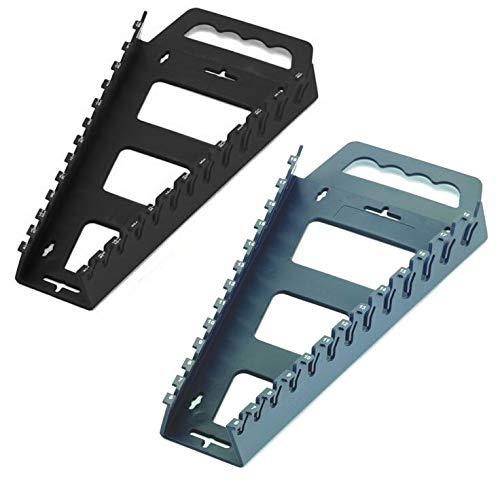 Hansen 2pc Wrench Rack Tray Holder Organizer Set Metric & SAE Black & Gray USA