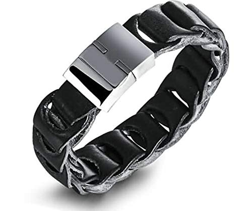 Gnzoe Men Stainless Steel Bracelet, Bangle Bracelet Hollow Weave Black 20 cm