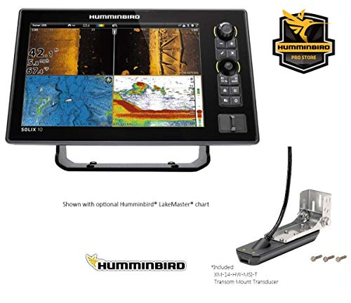 Humminbird Solix-10 Chirp with Mega SI+ Fishfinder GPS Combo G2 (Humm-411010-1) with XM 14 HW MSI T Transom Mount Transducer