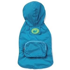 Zack & Zoey Polyester Stowaway Dog Rain Jacket, XX-Small, Bluebird