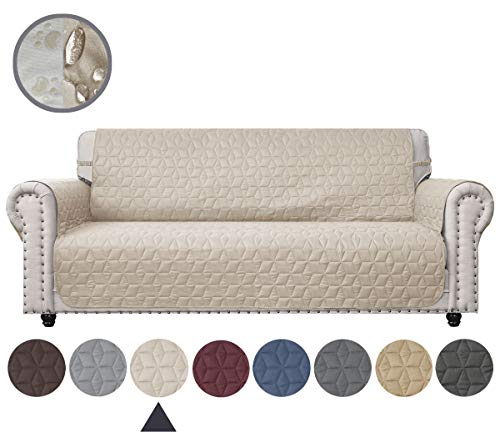 Ameritex Couch Sofa Slipcover 100% Waterproof Nonslip Quilted Furniture Protector Slipcover for Dogs, Children, Pets Sofa Slipcover Machine Washable (Beige, 78'') (Sofa Waterproof)