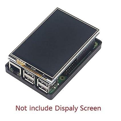 SODIAL pour Raspberry Pi 3 Modele B Ecran LCD Affichage avec Presse Tft Plus De 3,5 Pouces avec Un Nouveau Boitier en Plastique Abs pour Raspberry Pi 3 Etui Noir