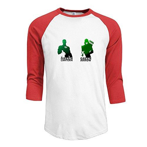 JUN Men's 3/4 Sleeve Cotton Baseball Lantern Arrow T Shirt Sport Red L
