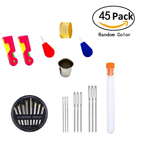30 Pieces Assorted Sewing Needles Set + 9 Pieces Large-eye Stitching Needles, Magnolian Hand Needles Steel Yarn Sewing Needles Kit with Needle Threaders and Thimbles, 45 Count in Total