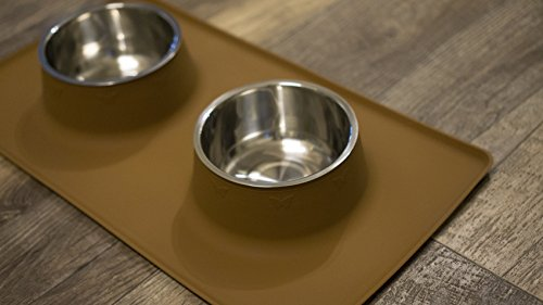 Stay-Clean Pet Feeding Station.  Dog / Cat Food Bowl Set with Non-Slip Silicone Mat, By OurGivingEarth (Large, Brown) by Our Giving Earth (Image #2)