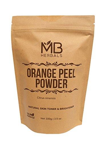 Herbal Exfoliator (MB Herbals Pure Orange Peel Powder 227g/1/2 lb/8 oz/0.5 LB - 100% Pure & Natural Sun Tan Remover & Exfoliator - No Chemicals or Bleaching Agents)