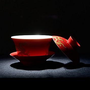 YBK Tech Porcelain Kung Fu Tea Cup and Saucer with Lid jinlonggaiwan Black Chinese Traditional Gaiwan Sancai Tea Bowl Tea Set Dragon Pattern