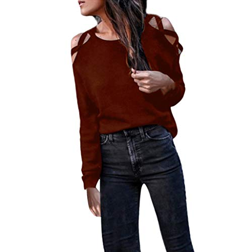 Rambling Hot New Women's Hollowed Out Shoulder Long Sleeve Casual Tunic Blouse Loose T-Shirts