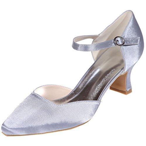 Loslandifen Femmes Pionted Toe Chaton Talons Satin Cheville Sangle Pompes Plate-forme Chaussures De Mariage Argent