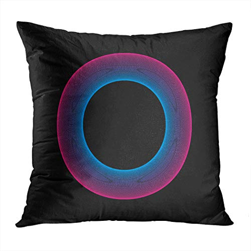 Suike Throw Pillow Cover Neon Ring Glowing Dark Moire Hidden Zipper Home Sofa Decorative Cushion Case 18x18 Inch Square Printed Pillowcase