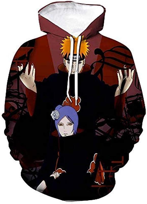 TSHIMEN Sweater Męskie Naruto Riman Sweater Wirbel Naruto Kakashi Uchiha Sasuke 3D Digital gedruckte Sweater Męskie Freizeitmode Hoodie-SM18A-003 XXXXL: Odzież