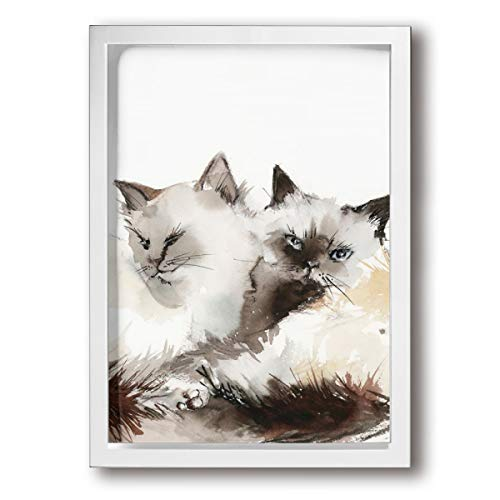 SRuhqu Canvas Wall Art Prints Birman Cat Couple Two Cats -Photo Paintings Contemporary Home Decoration Giclee Artwork-Wood Frame Ready to Hang 9