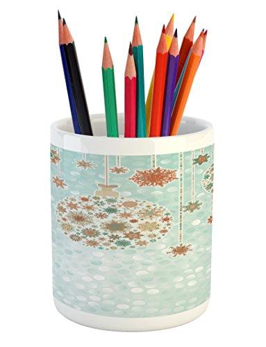 Lunarable Christmas Pencil Pen Holder, Balls Vintage Style Celebration Design Winter Season Wonderland Themed Snowflakes, Printed Ceramic Pencil Pen Holder for Desk Office Accessory, Blue (Winter Wonderland Ball Theme)