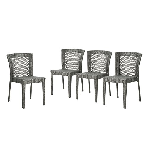 Christopher Knight Home 304494 Bonnie Outdoor Wicker Dining Chairs (Set of 4), Grey