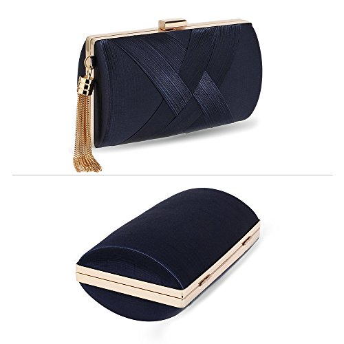 Stunning FREE Navy Stunning UK DELIVERY Tassel Clutch Navy 7nxqpxwTOU