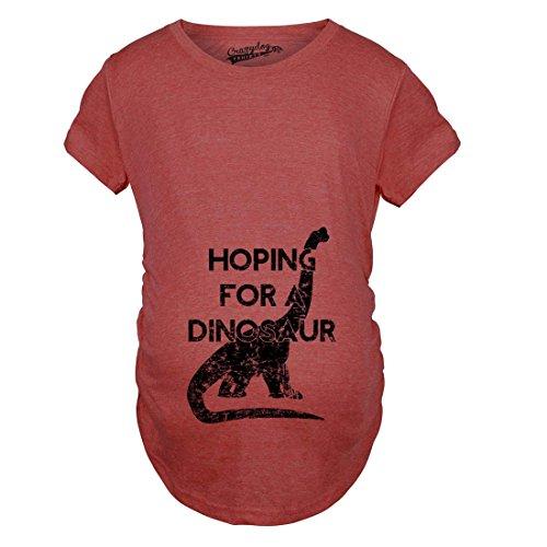 Crazy Dog TShirts - Maternity Hoping For a Dinosaur Funny Baby Pregnancy Announcement T shirt - Camiseta De Maternidad Rojo