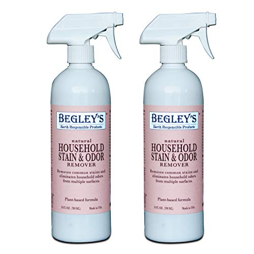 Begley's Natural Household Stain & Odor Remover - 24 oz - Environmentally Responsible Plant-Based Formula, Cleans Tile, Wood, Carpet, and Upholstery - 2 Pack
