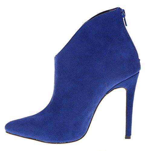 EKS Damen Spitze Stilett Reißverschluss Kurze Stiefel Blau-Wildleder