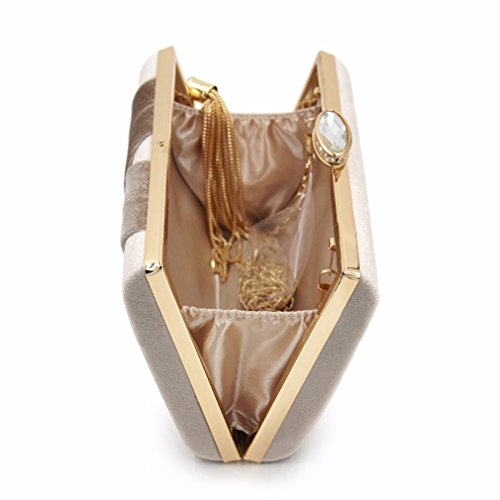 Top NEW Bag Tassels Clutch Bags Women Quality Beige Wedding Clutches Ladies Suede Purses Evening Clutches qrrStp1