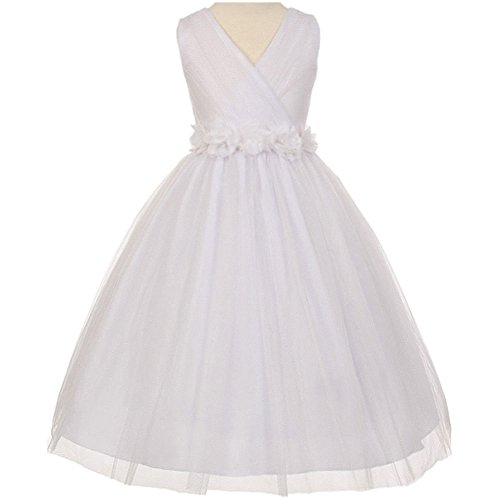 Big Girls Fabulous Pleated Sleeveless Crystal Tulle Chiffon Floral Satin Sash Flower Girl Dress White - Size 14