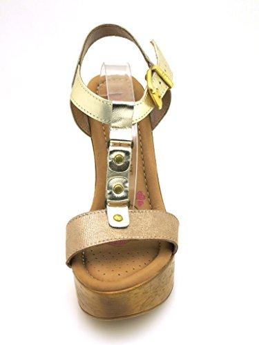 Innocent Tacón Alto Sandalias Botas De Cuero Mujer T-Stripe 188-SS02 Coñac