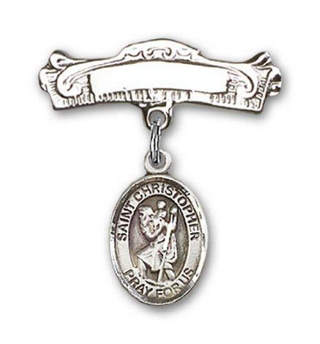 Icecarats Créatrice De Bijoux En Argent Sterling St. Christopher Charme Broches Badge Arc 7/8 X 7/8