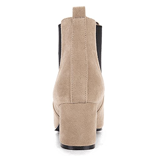 Beige Panel Martin Slip Toe Women Boots Suede QZUnique Pointy Surface with Heel Ankle Elastic Booties Chunky gzgwAqWZ