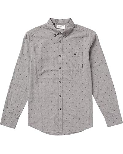 Billabong Men's All Day Long Sleeve Woven Shirts, Pewter Heather, L