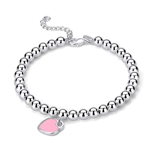 Mini Heart Tag Silver Charm Bead Bracelet Jewelry for Women (Pink Enamel)